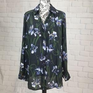 Joan Vass 2x long sleeve floral print button top
